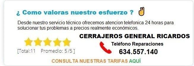 cerrajeros General Ricardos precios